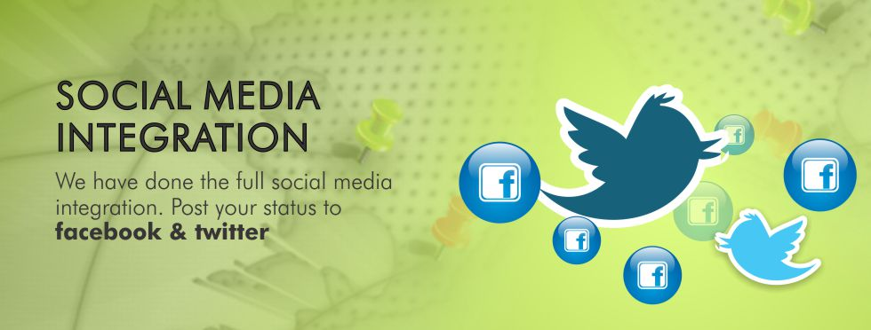 We have done the full social media integration. Post your status to facebook & twitter